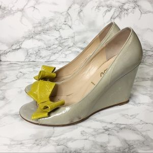 Butter Peep Toe Bow Patent Wedges